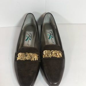 Ros Hommerson Brown leather with gold elephants